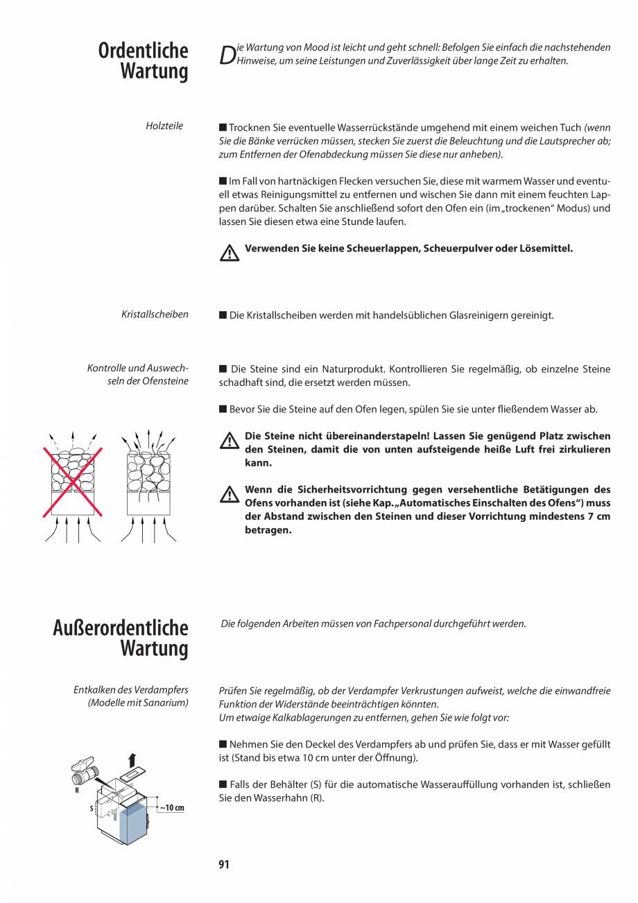 Pagina 91 - Manualul utilizatorului pentru sauna JACUZZI MOOD Instructiuni montaj, utilizare Engleza...