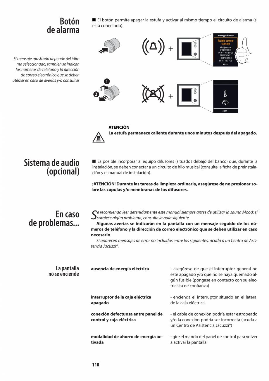 Pagina 110 - Manualul utilizatorului pentru sauna JACUZZI MOOD Instructiuni montaj, utilizare...