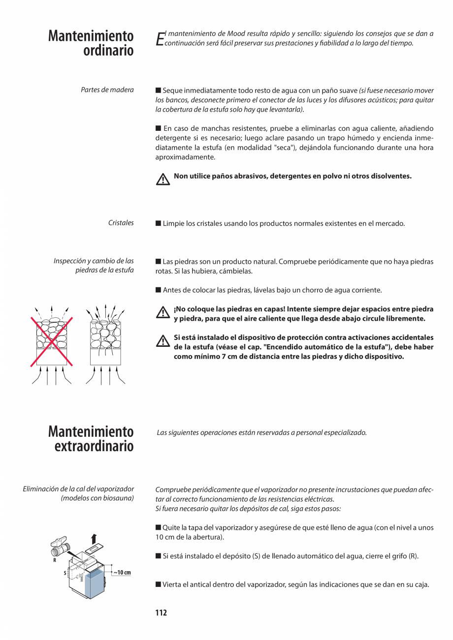 Pagina 112 - Manualul utilizatorului pentru sauna JACUZZI MOOD Instructiuni montaj, utilizare...