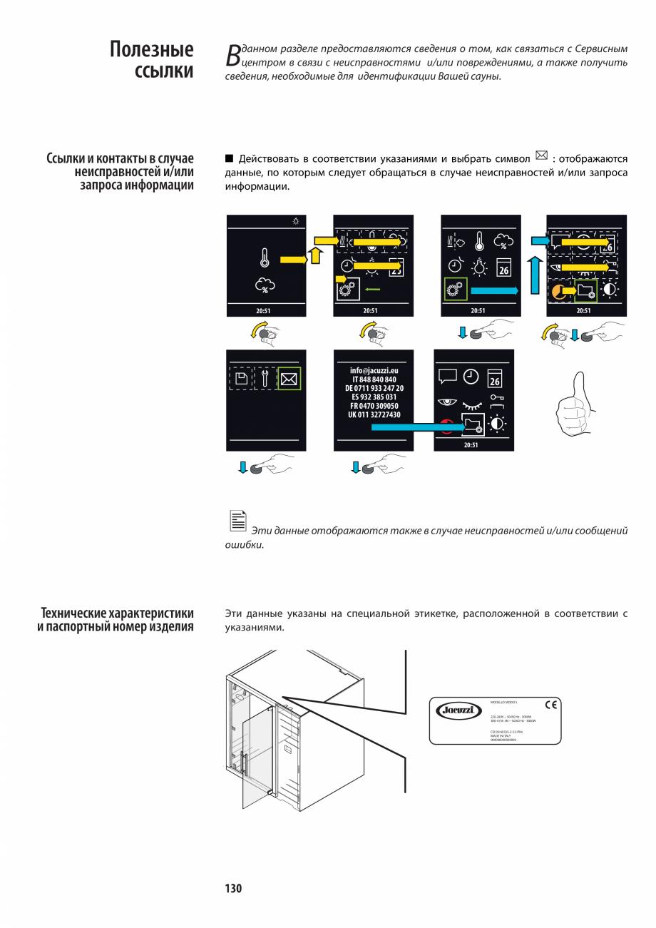 Pagina 130 - Manualul utilizatorului pentru sauna JACUZZI MOOD Instructiuni montaj, utilizare...
