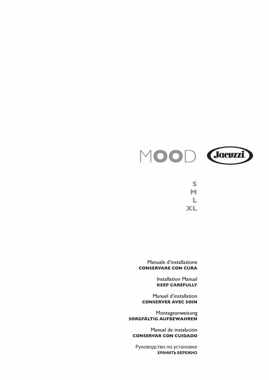 Pagina 1 - Manual de instalare pentru sauna JACUZZI MOOD Instructiuni montaj, utilizare Engleza,...