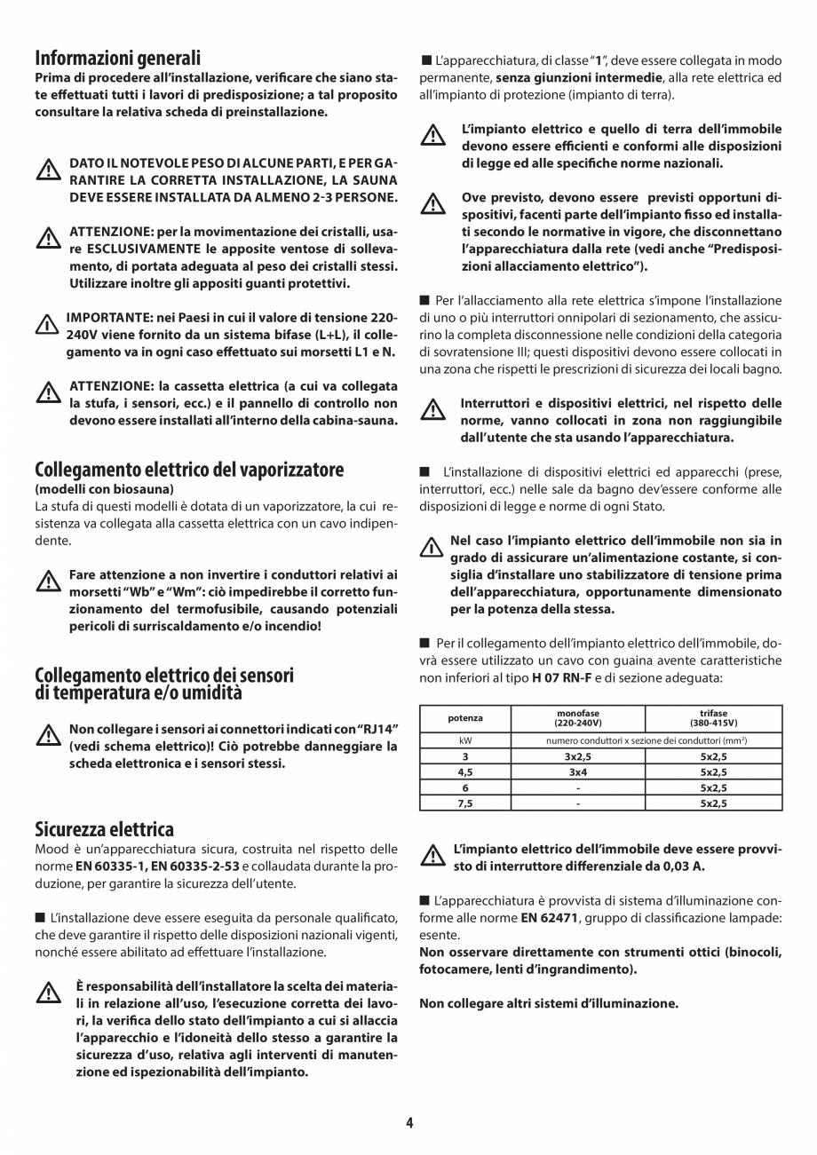 Pagina 4 - Manual de instalare pentru sauna JACUZZI MOOD Instructiuni montaj, utilizare Engleza,...