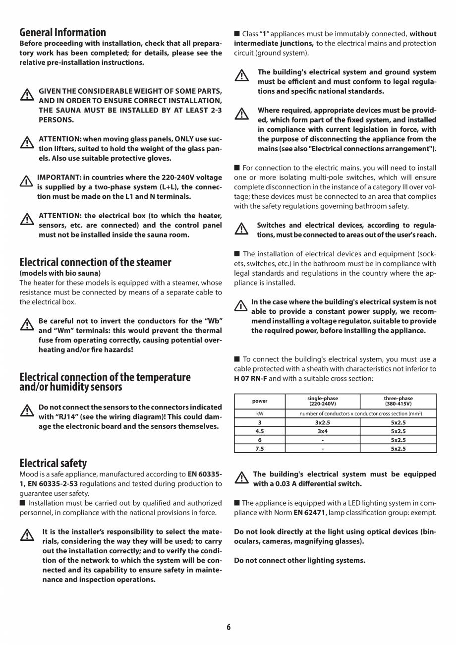 Pagina 6 - Manual de instalare pentru sauna JACUZZI MOOD Instructiuni montaj, utilizare Engleza,...