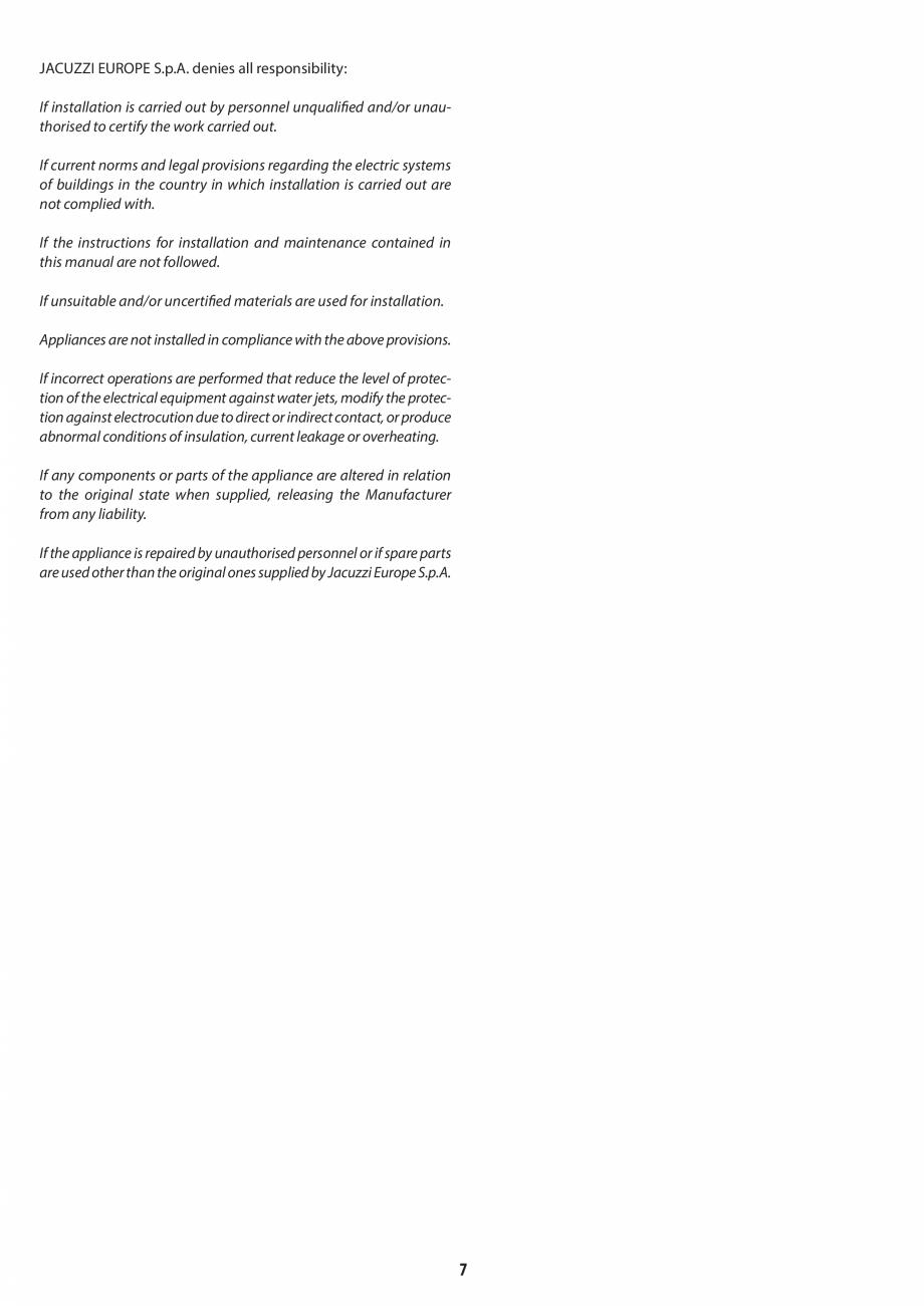 Pagina 7 - Manual de instalare pentru sauna JACUZZI MOOD Instructiuni montaj, utilizare Engleza,...