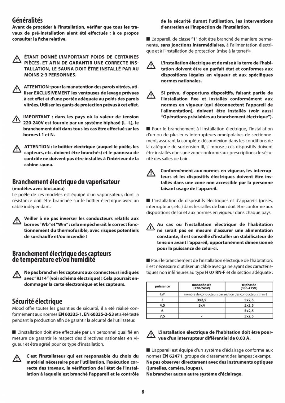 Pagina 8 - Manual de instalare pentru sauna JACUZZI MOOD Instructiuni montaj, utilizare Engleza,...