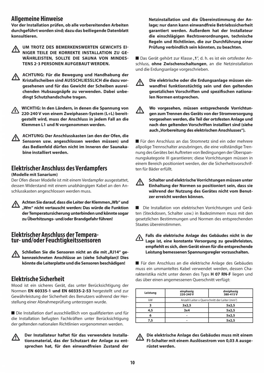 Pagina 10 - Manual de instalare pentru sauna JACUZZI MOOD Instructiuni montaj, utilizare Engleza,...