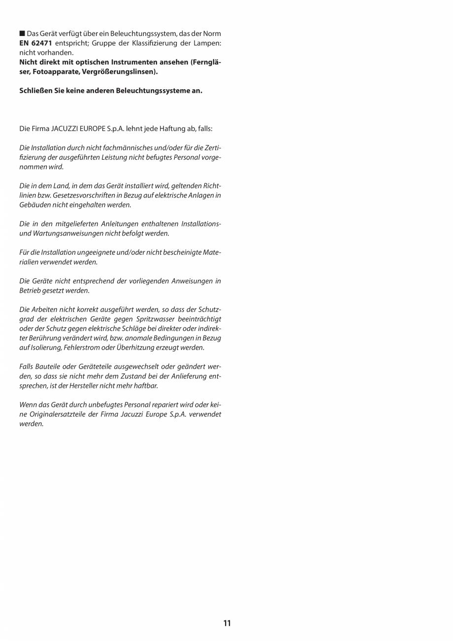 Pagina 11 - Manual de instalare pentru sauna JACUZZI MOOD Instructiuni montaj, utilizare Engleza,...