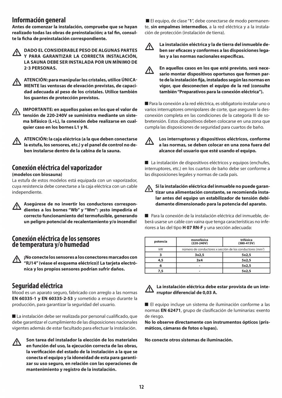 Pagina 12 - Manual de instalare pentru sauna JACUZZI MOOD Instructiuni montaj, utilizare Engleza,...