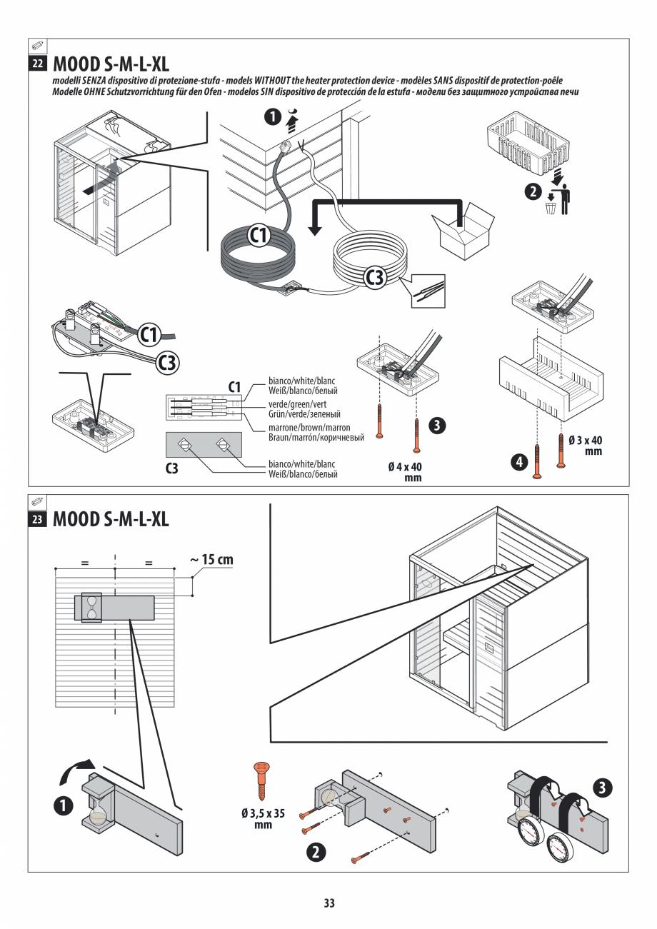Pagina 33 - Manual de instalare pentru sauna JACUZZI MOOD Instructiuni montaj, utilizare Engleza,...