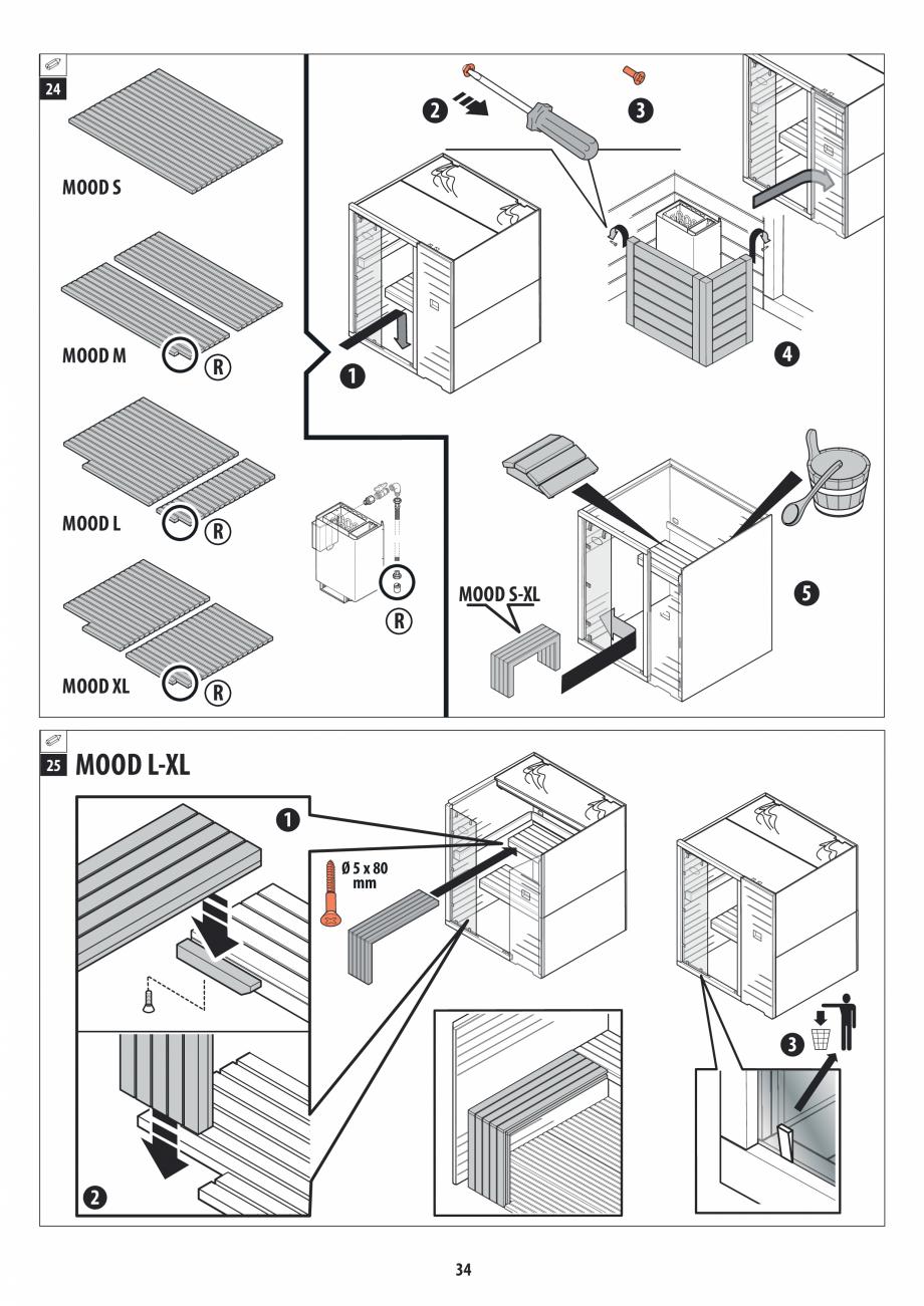 Pagina 34 - Manual de instalare pentru sauna JACUZZI MOOD Instructiuni montaj, utilizare Engleza,...