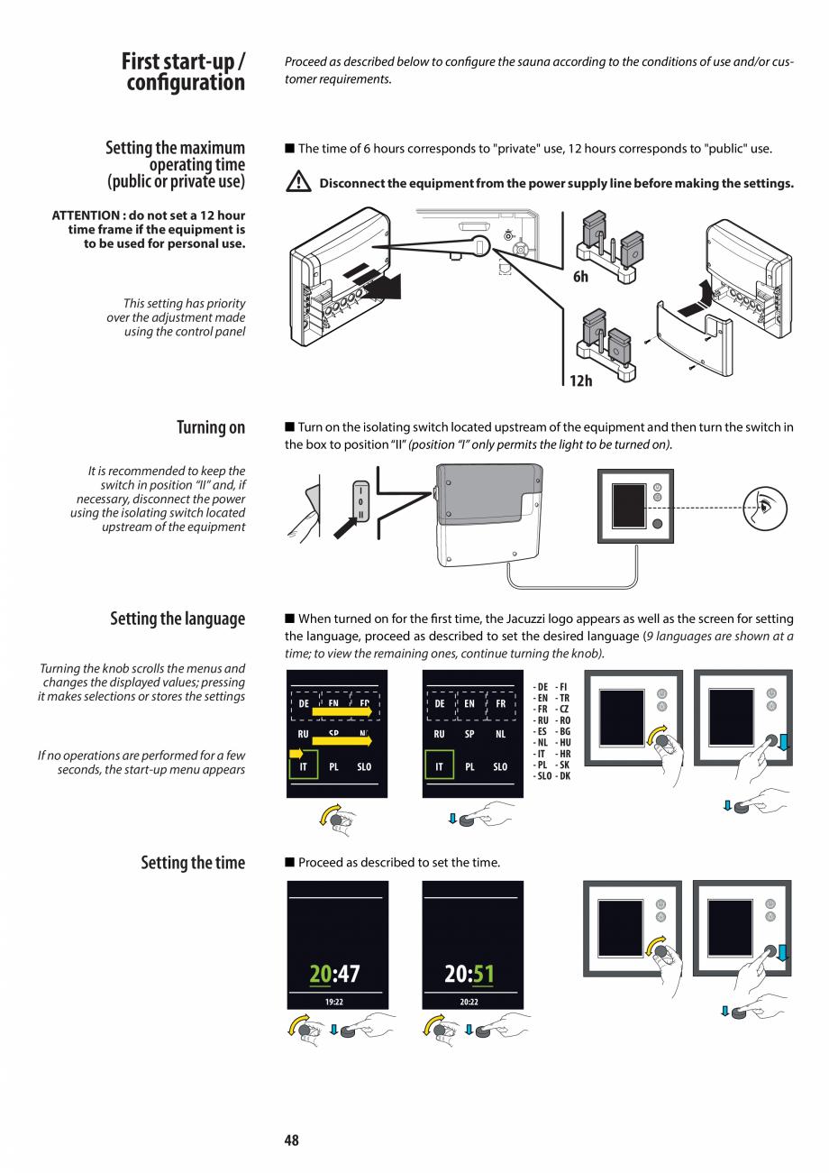 Pagina 48 - Manual de instalare pentru sauna JACUZZI MOOD Instructiuni montaj, utilizare Engleza,...