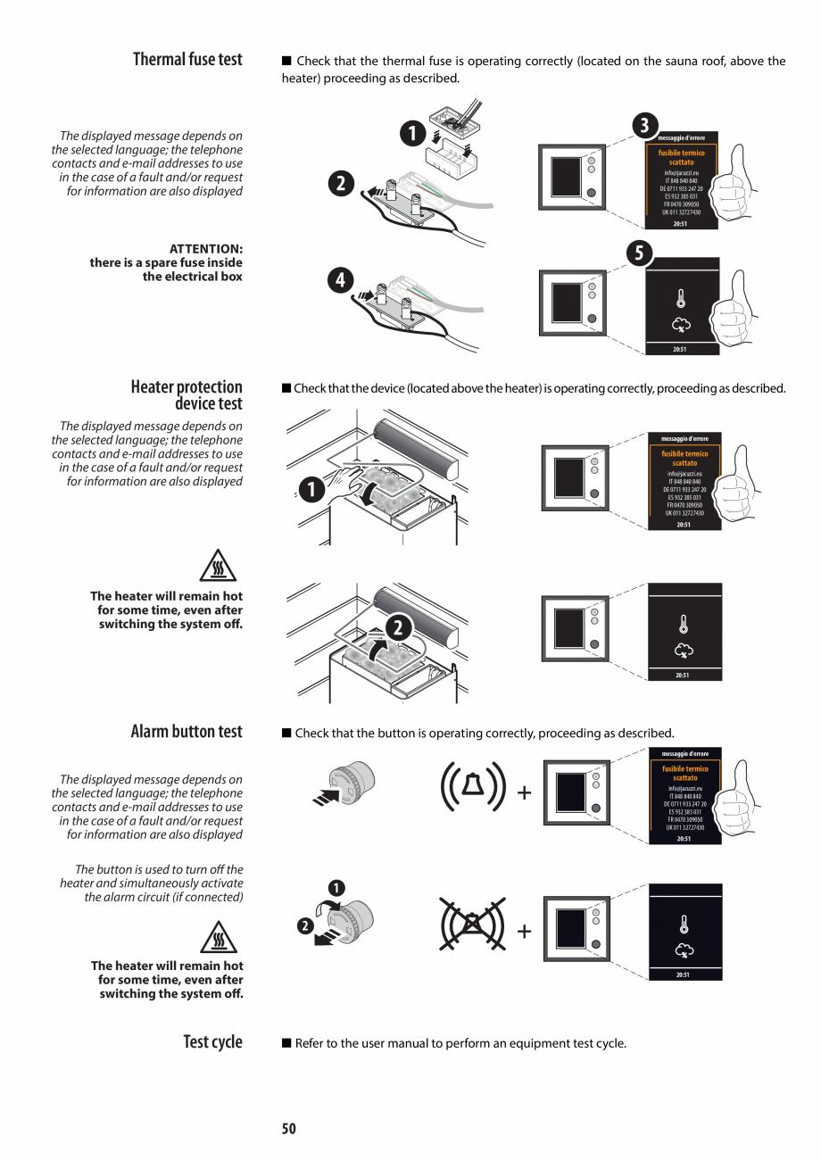 Pagina 50 - Manual de instalare pentru sauna JACUZZI MOOD Instructiuni montaj, utilizare Engleza,...