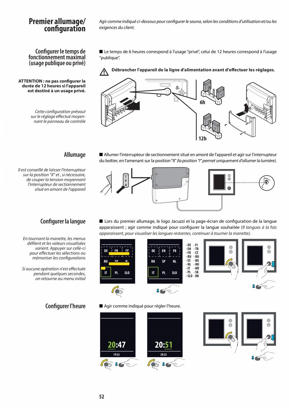 Pagina 52 - Manual de instalare pentru sauna JACUZZI MOOD Instructiuni montaj, utilizare Engleza,...