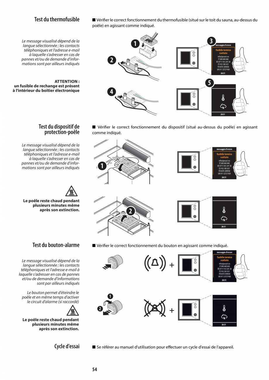 Pagina 54 - Manual de instalare pentru sauna JACUZZI MOOD Instructiuni montaj, utilizare Engleza,...