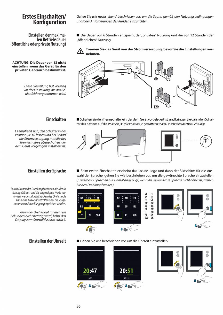 Pagina 56 - Manual de instalare pentru sauna JACUZZI MOOD Instructiuni montaj, utilizare Engleza,...