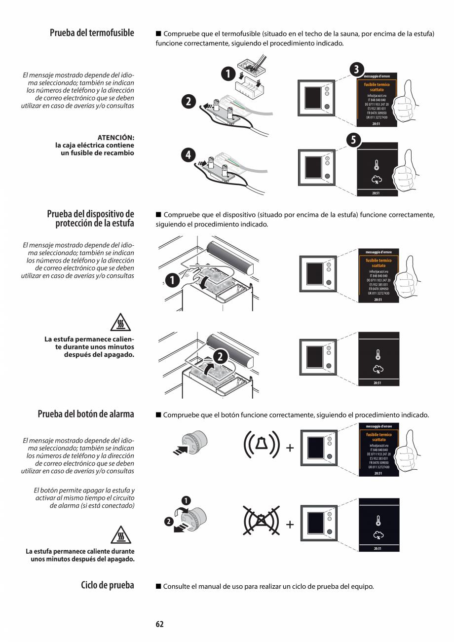 Pagina 62 - Manual de instalare pentru sauna JACUZZI MOOD Instructiuni montaj, utilizare Engleza,...