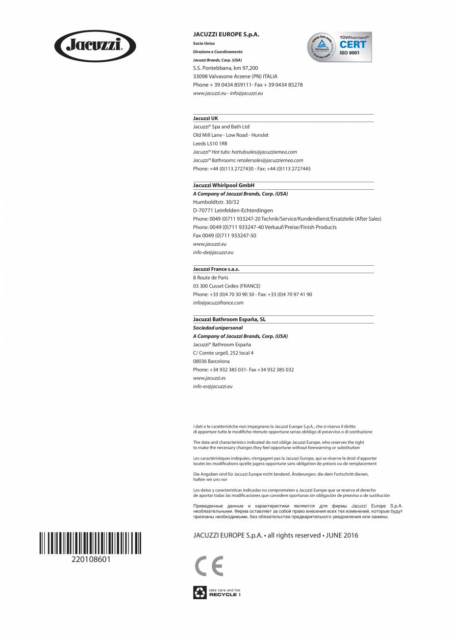 Pagina 68 - Manual de instalare pentru sauna JACUZZI MOOD Instructiuni montaj, utilizare Engleza,...