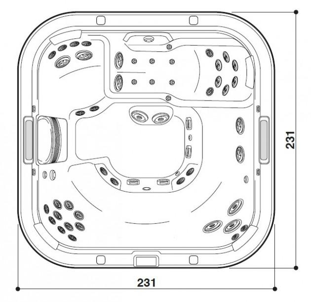Schiță dimensiuni Cada cu hidromasaj - J-575™