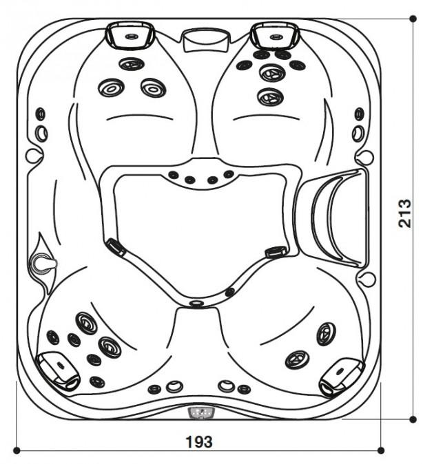 Schiță dimensiuni Cada cu hidromasaj - J-325™
