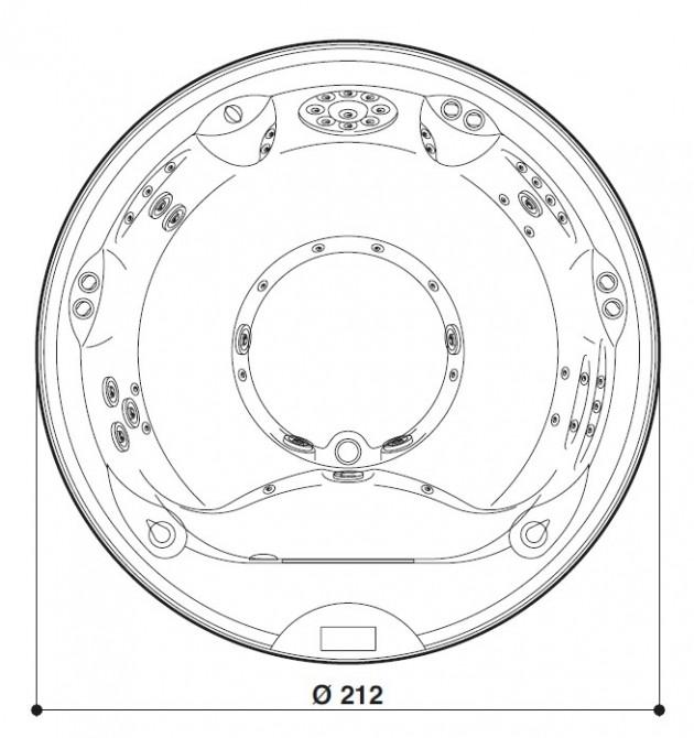 Schiță dimensiuni Cada cu hidromasaj - ALIMIA