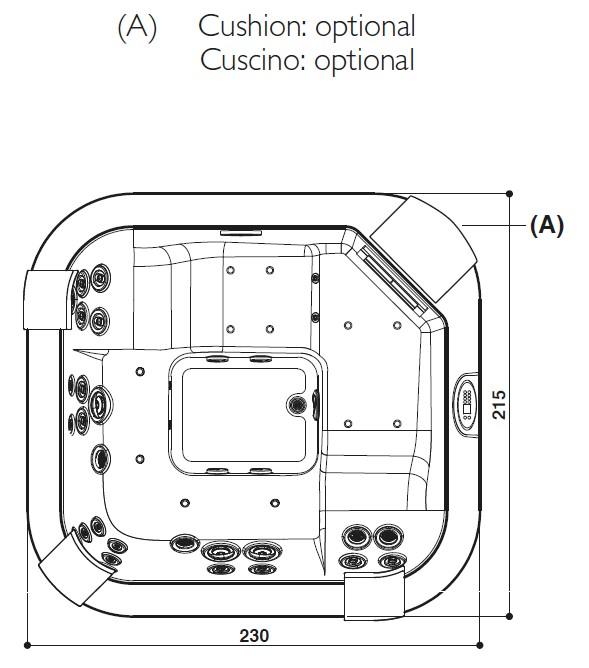 Schiță dimensiuni Cada cu hidromasaj - SANTORINI PRO SOUND
