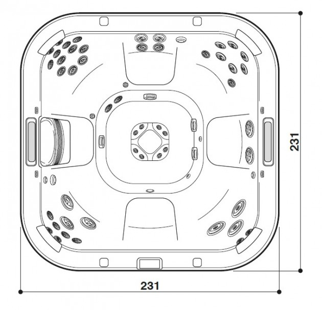 Schiță dimensiuni Cada cu hidromasaj - J-585™