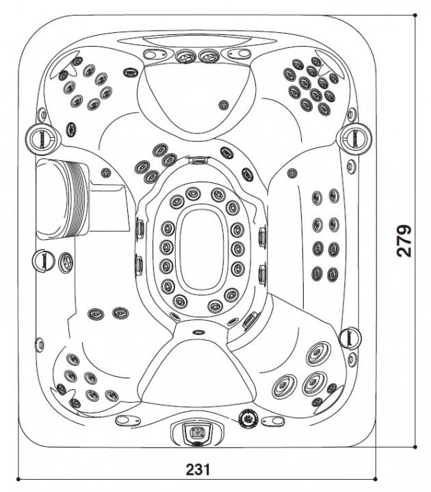 Schiță dimensiuni Cada cu hidromasaj - J-495™