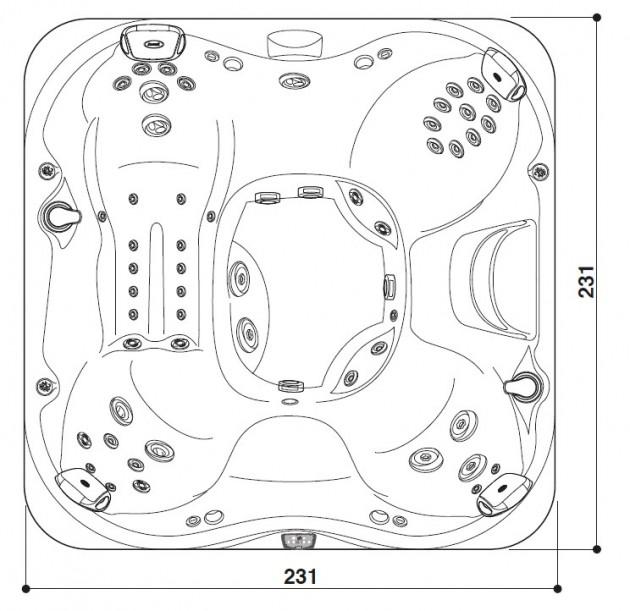 Schiță dimensiuni Cada cu hidromasaj - J-375™