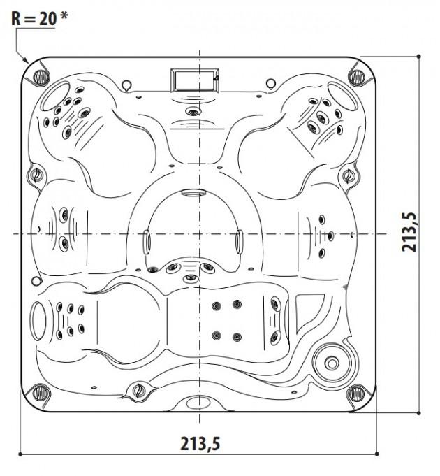 Schiță dimensiuni Cada cu hidromasaj - J-235™
