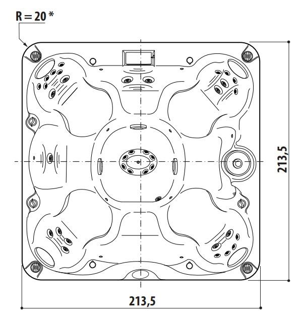Schiță dimensiuni Cada cu hidromasaj - J-245™