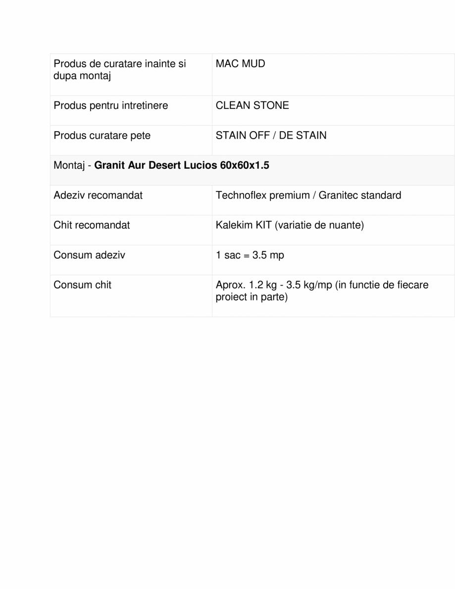 Pagina 2 - Specificatii Granit Aur Desert Lucios 60x60x1 MESTA Fisa tehnica Romana