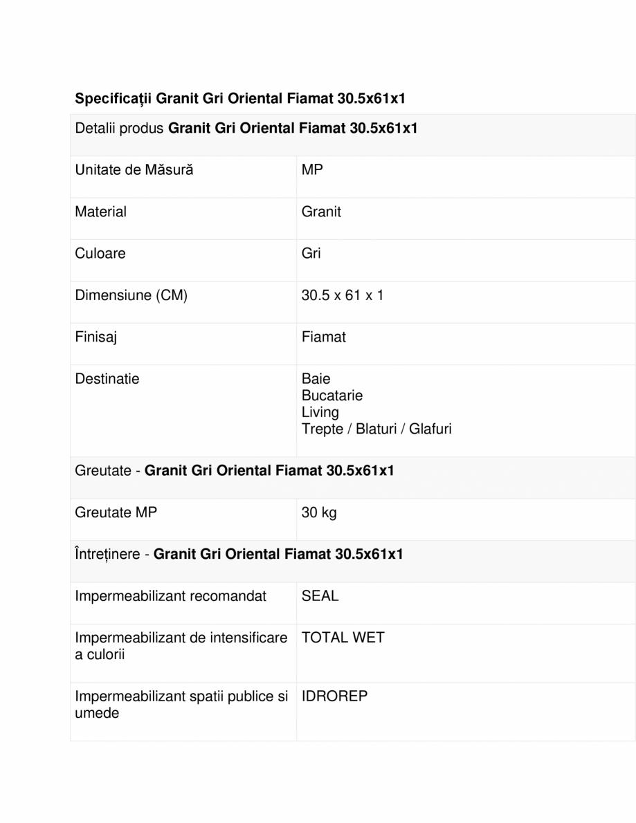 Pagina 1 - Specificatii Granit Gri Oriental Fiamat 30,5x61x1 MESTA Fisa tehnica Romana Specificații...