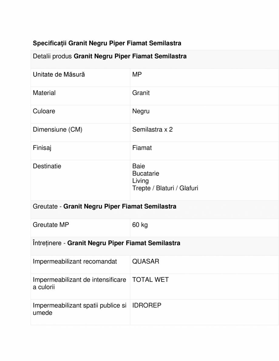 Pagina 1 - Specificatii Granit Negru Piper Fiamat Semilastra MESTA Fisa tehnica Romana Specificații...
