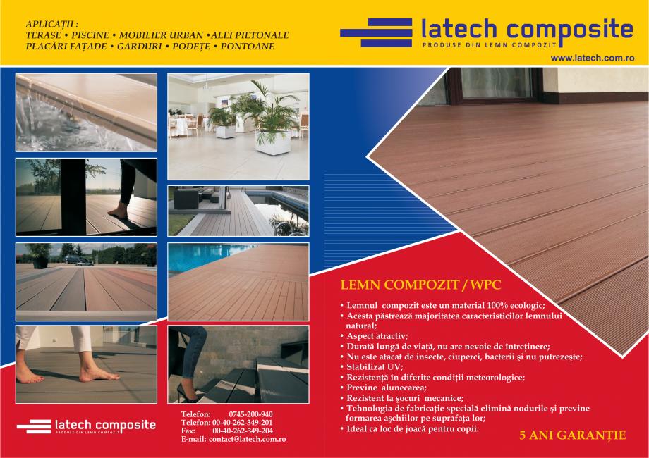 Pagina 1 - Produse din lemn compozit - prezentare  Catalog, brosura Romana APLICAŢII : TERASE •...