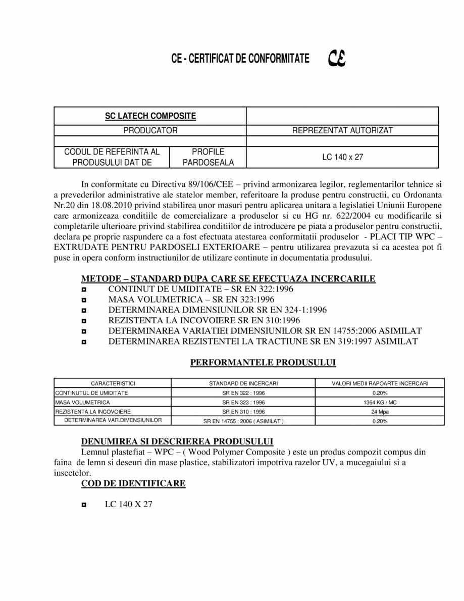 Pagina 1 - Certificat de conformitate pentru profile pardoseala  Certificare produs Romana CE -...