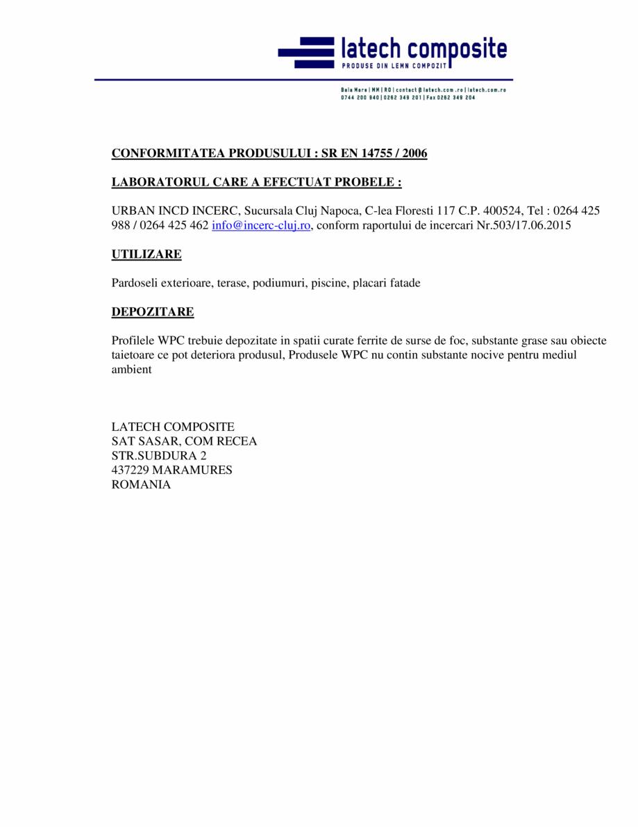 Pagina 2 - Certificat de conformitate pentru profile pardoseala  Certificare produs Romana  CARE SE ...