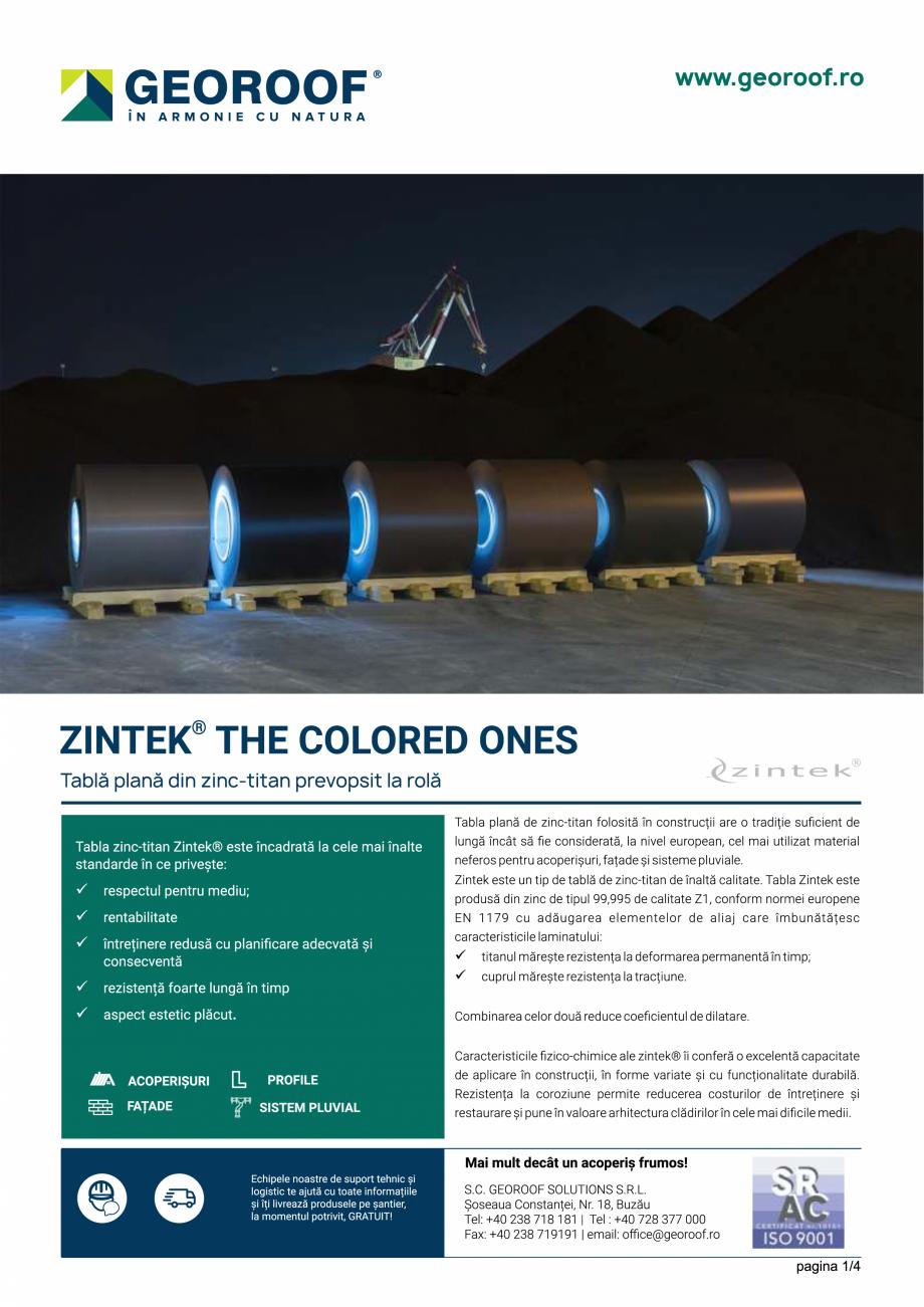 Fisa tehnica Tabla plana din zinc-titan prevopsit la rola ZINTEK GEOROOF Tablă plană pentru acoperișuri și fațade GEOROOF SOLUTIONS  - Pagina 1