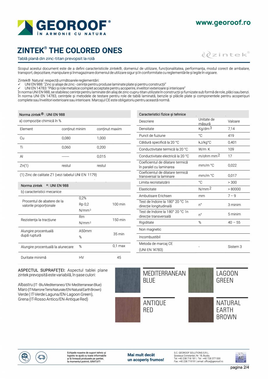 Fisa tehnica Tabla plana din zinc-titan prevopsit la rola ZINTEK GEOROOF Tablă plană pentru acoperișuri și fațade GEOROOF SOLUTIONS  - Pagina 2