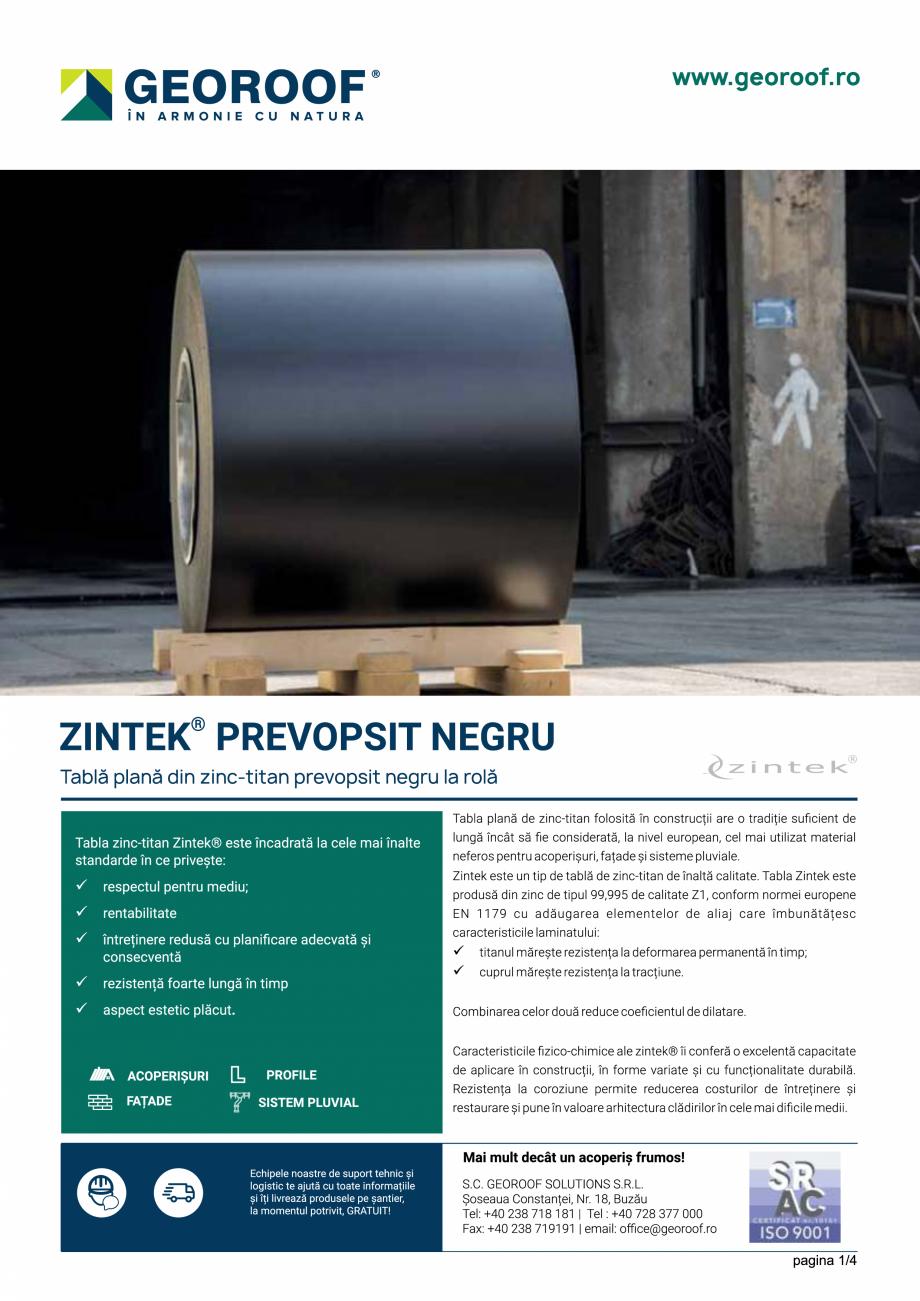 Fisa tehnica Tabla plana din zinc-titan prevopsit negru la rola ZINTEK GEOROOF Tablă plană pentru acoperișuri și fațade GEOROOF SOLUTIONS  - Pagina 1