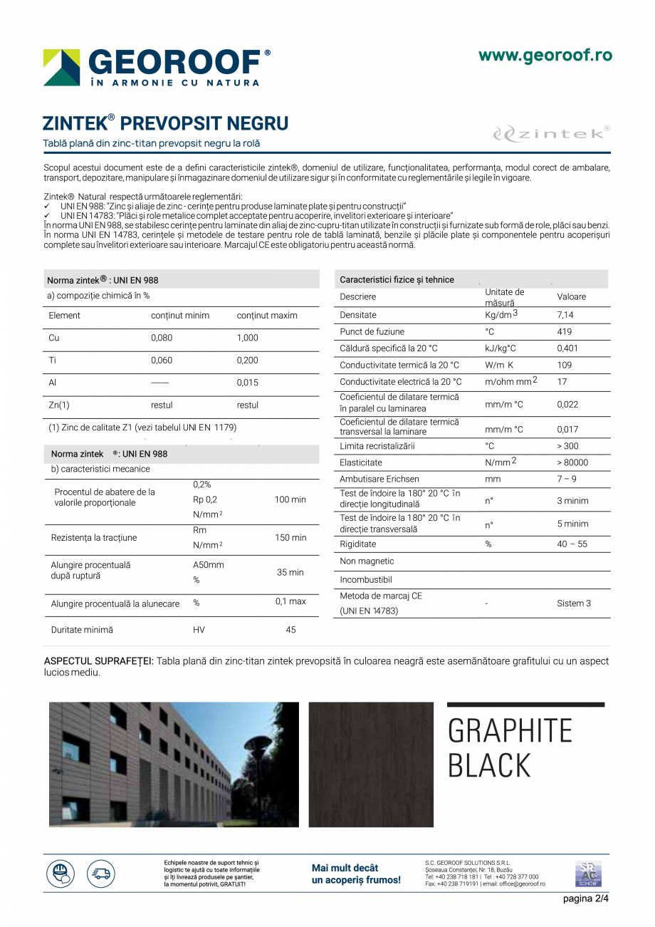 Fisa tehnica Tabla plana din zinc-titan prevopsit negru la rola ZINTEK GEOROOF Tablă plană pentru acoperișuri și fațade GEOROOF SOLUTIONS  - Pagina 2