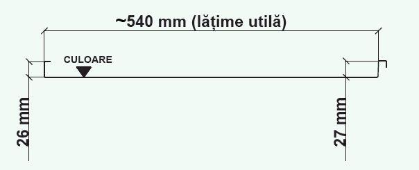 Schiță dimensiuni Panouri din tabla faltuita pentru invelitori plane - Wetterbest® Faltz