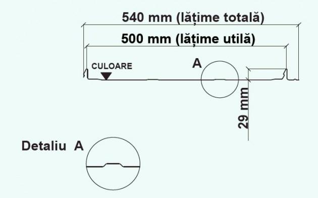 Schiță dimensiuni Panouri din tabla faltuita pentru invelitori plane - Wetterbest® Click