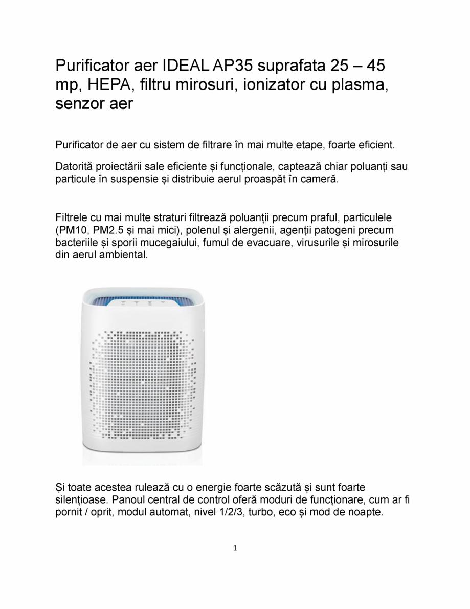 Pagina 1 - Purificator de aer cu sistem de filtrare in mai multe etape IDEAL AP35 Catalog, brosura...