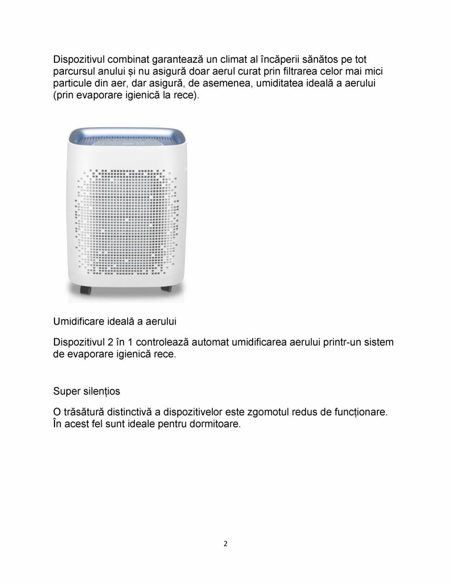 Pagina 2 - 2 in 1 purificator aer si umidificator IDEAL AP35 H Catalog, brosura Romana  la rece). ...