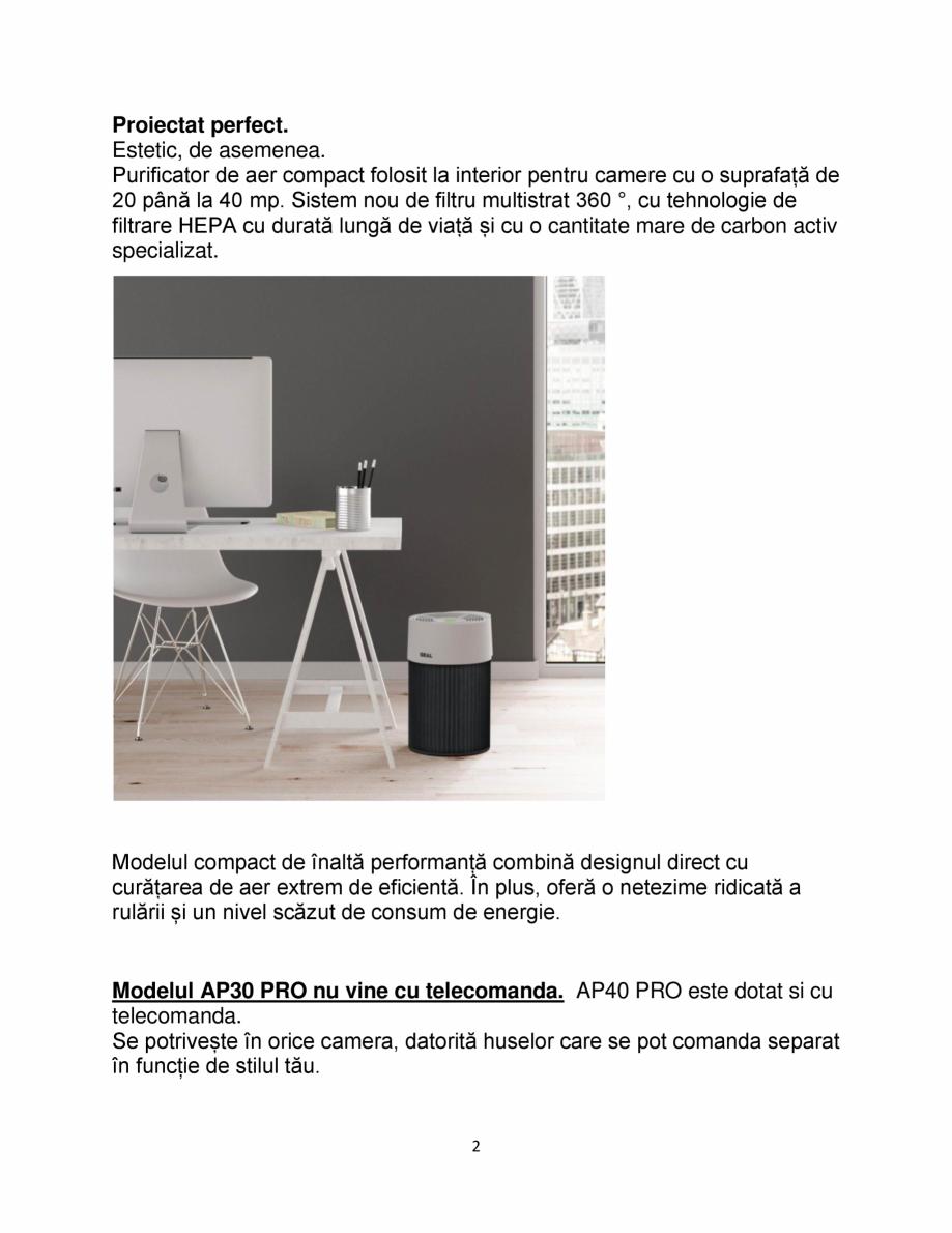 Pagina 2 - Purificator de aer IDEAL AP30 PRO Catalog, brosura Romana de carbon activ specializat. ...