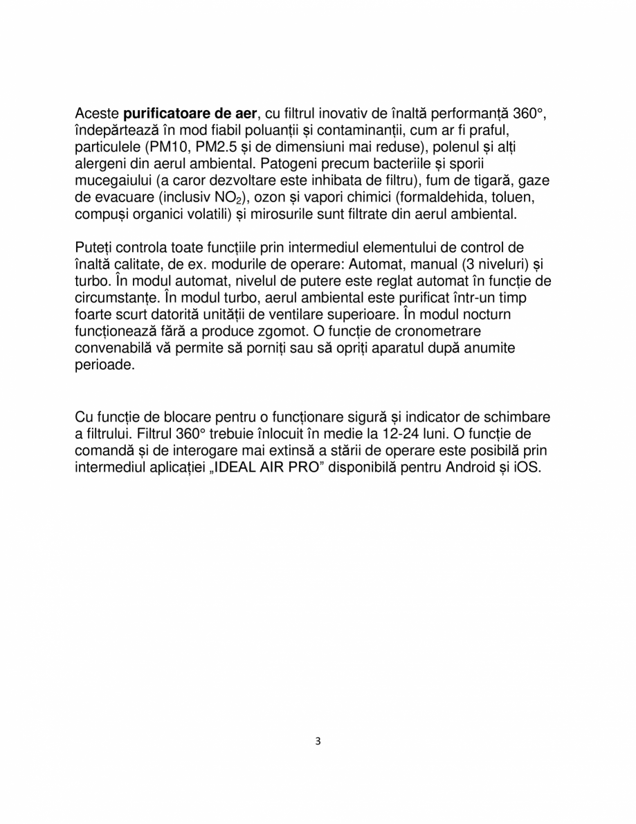 Pagina 3 - Purificator de aer IDEAL AP60 PRO Catalog, brosura Romana e. În modul turbo, aerul...