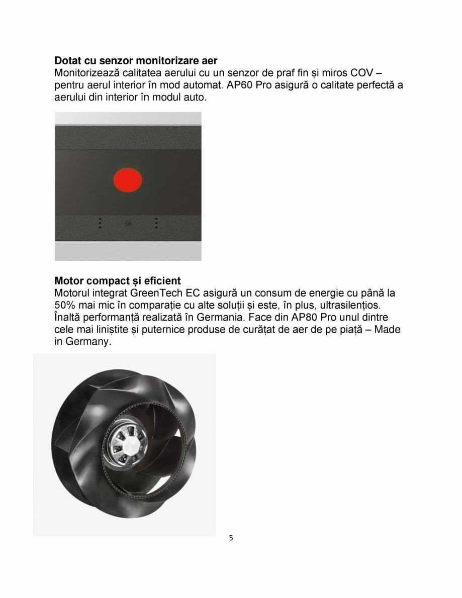 Pagina 5 - Purificator de aer IDEAL AP60 PRO Catalog, brosura Romana  strat foarte mare de carbon...