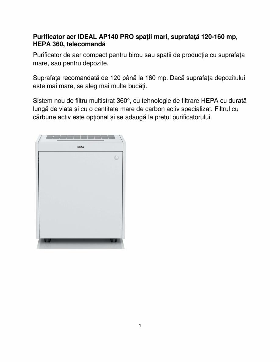 Pagina 1 - Purificator de aer  IDEAL AP140 PRO Catalog, brosura Romana Purificator aer IDEAL AP140...