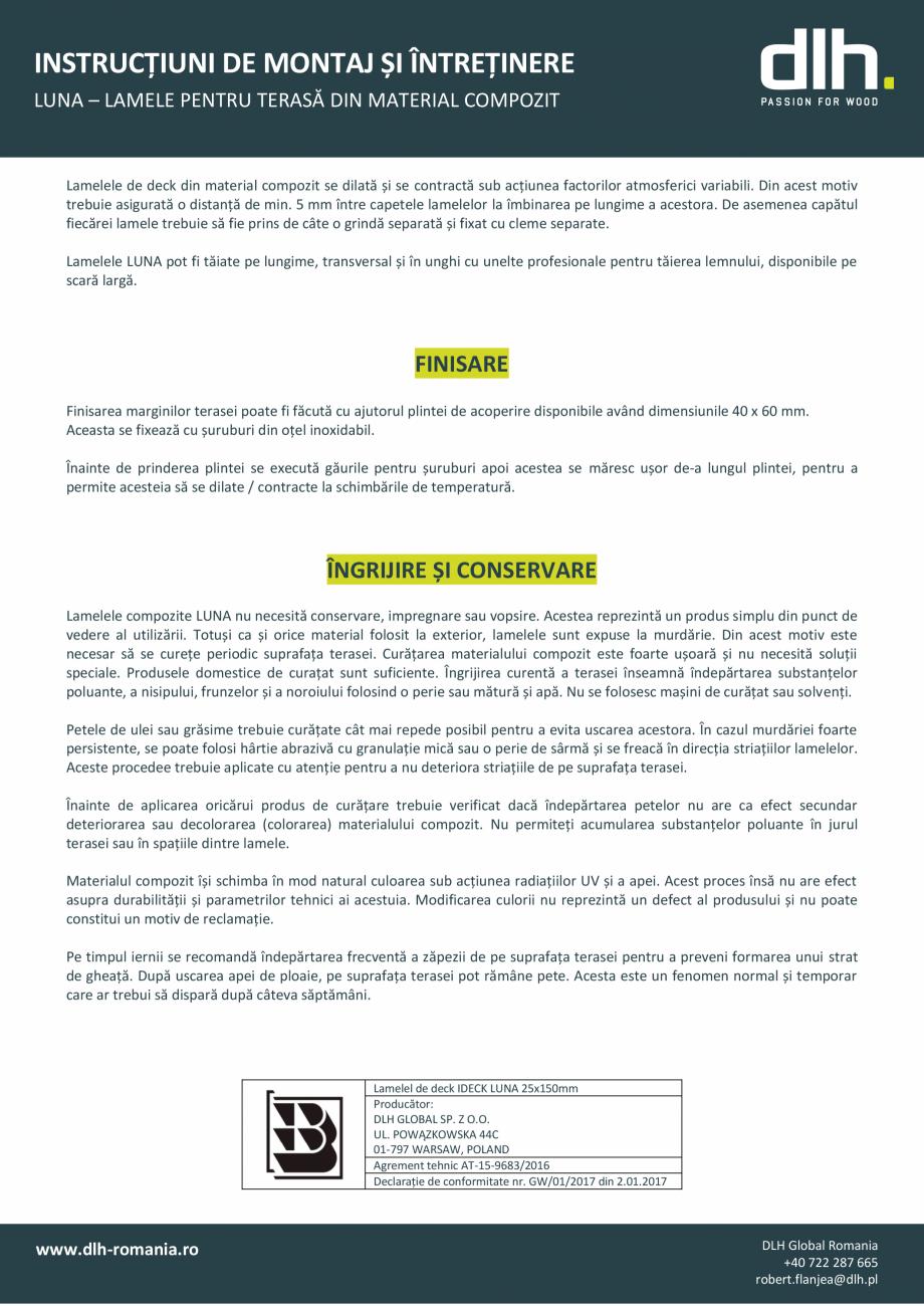 Pagina 3 - Lamele pentru terasa din material compozit deckexpert.ro Instructiuni montaj, utilizare...