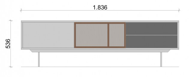 Schiță dimensiuni Comoda TV cu doua sertare - White & Grey